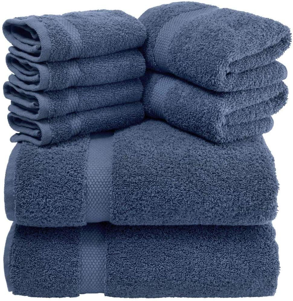 Luxury 8 Piece Bath Towel Set 700 GSM Thick Combed Cotton Hotel Quality...